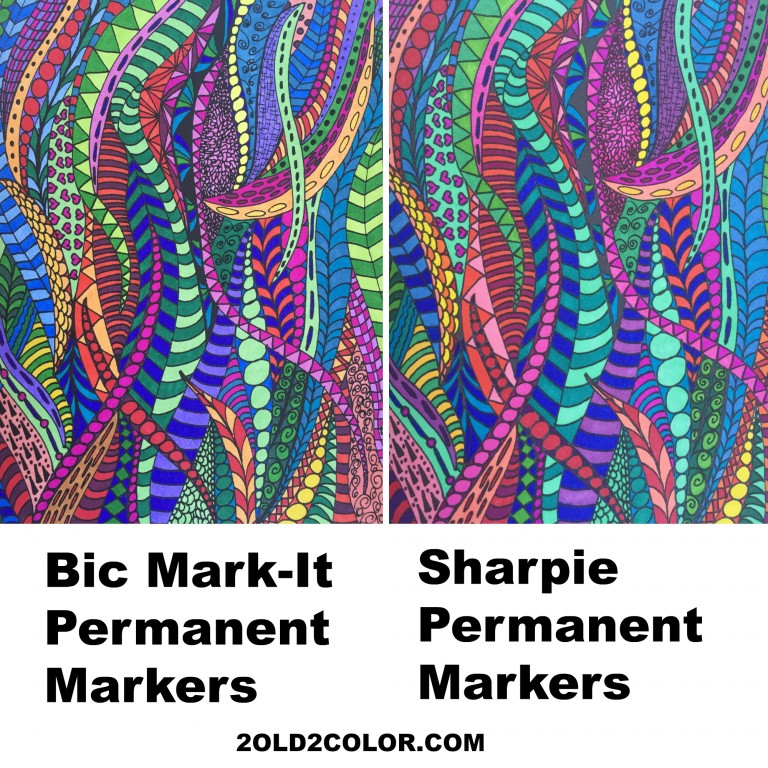 Bic Mark-It Markers and Sharpie Markers Comparison - 2 Old 2 Color