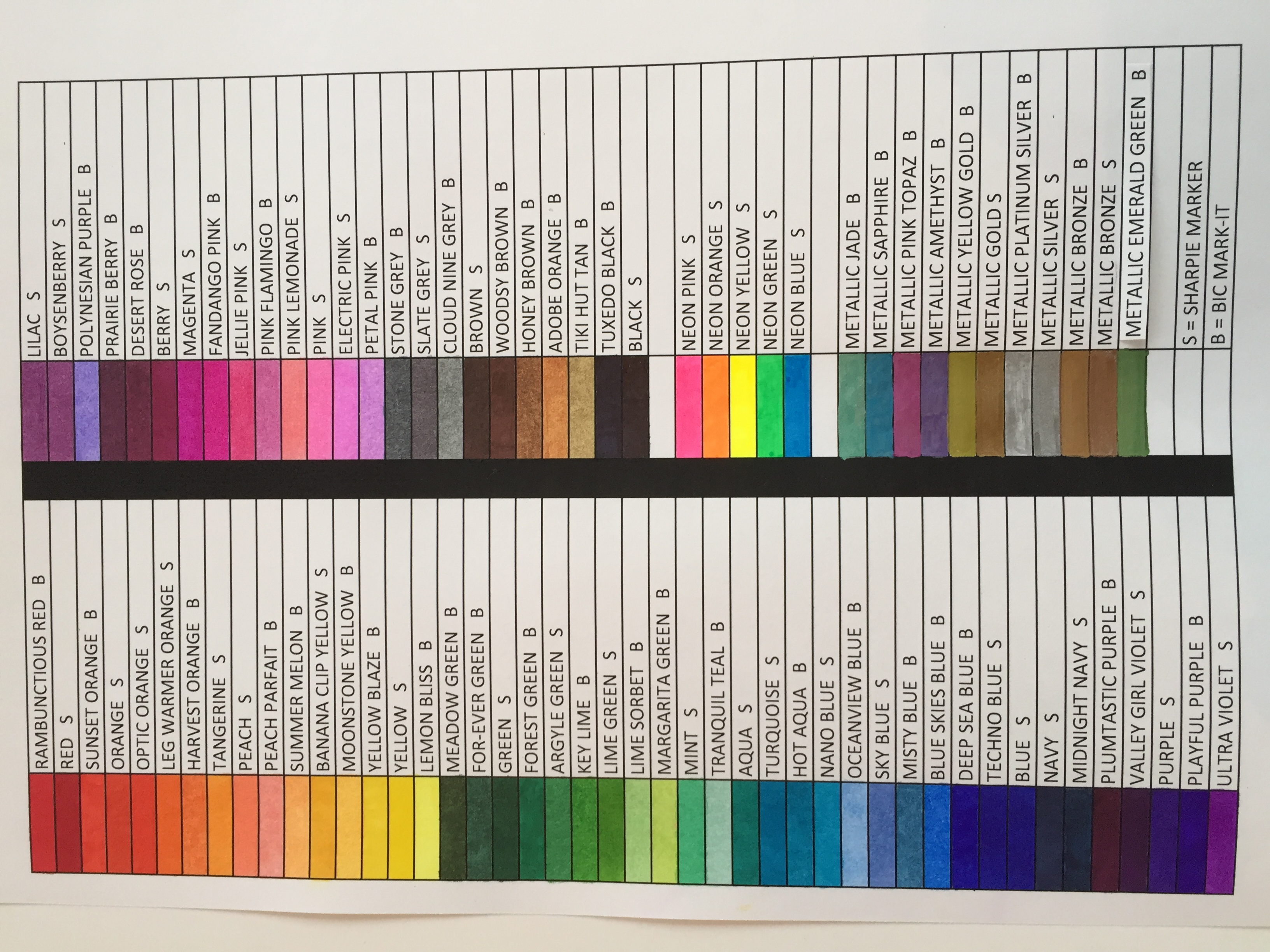 color chart for bic mark it and sharpie markers