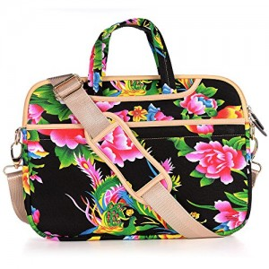 JBonest-141-Inch-Black-Peony-Flower-Laptop-Bag-Canvas-Fabric-Laptop-Notebook-Computer-Macbook-Macbook-Air-Macbook-Pro-Shoulder-Handbag-Sleeve-Briefcase-0