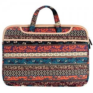 JBonest-156-Inch-Bohemian-Laptop-Bag-Briefcase-Canvas-Fabric-Laptop-Notebook-Computer-Macbook-Macbook-Air-Macbook-Pro-Handbag-Case-Sleeve-Red-0