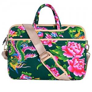 JBonest-156-Inch-Green-Peony-Flower-Laptop-Bag-Canvas-Fabric-Laptop-Notebook-Computer-Macbook-Macbook-Air-Macbook-Pro-Shoulder-Handbag-Sleeve-Briefcase-0