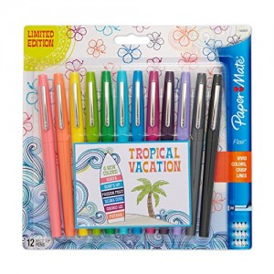 Paper-Mate-Flair-Porous-Point-Felt-Tip-Pen-Medium-Tip-12-Pack-Limited-Edition-Tropical-Vacation-Colors-1928605-0