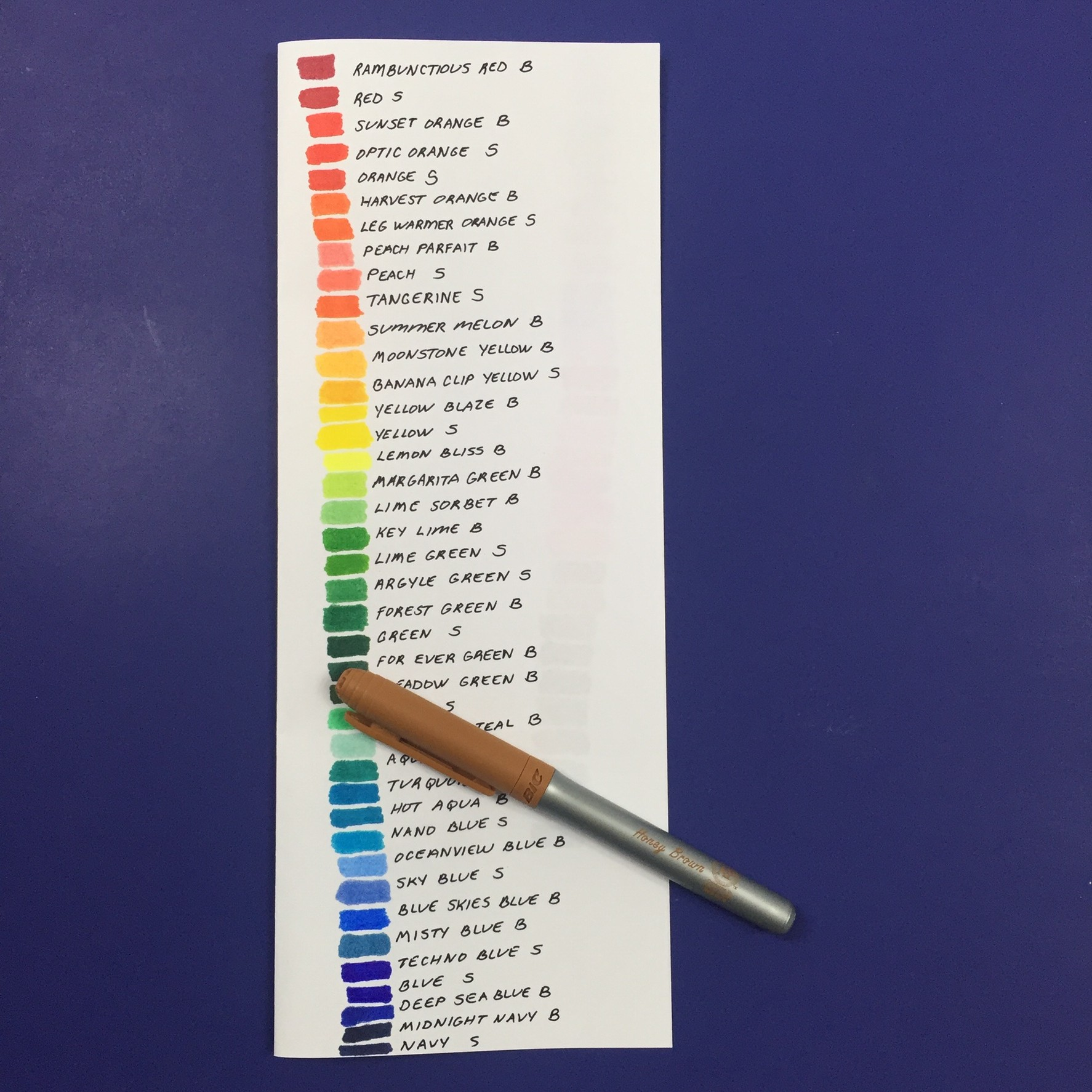Book colour names - Make This Simple Marker Color Chart