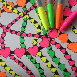 combine neon and black markers adult coloring book coloring tips